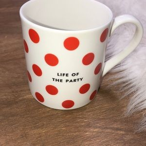 Kate Spade Life of the party polka dot coffee mug